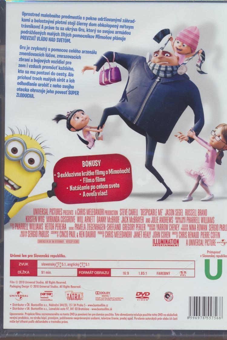Já, padouch / Ja zloduch - animovaný (Despicable Me ) DVD - supershop.sk