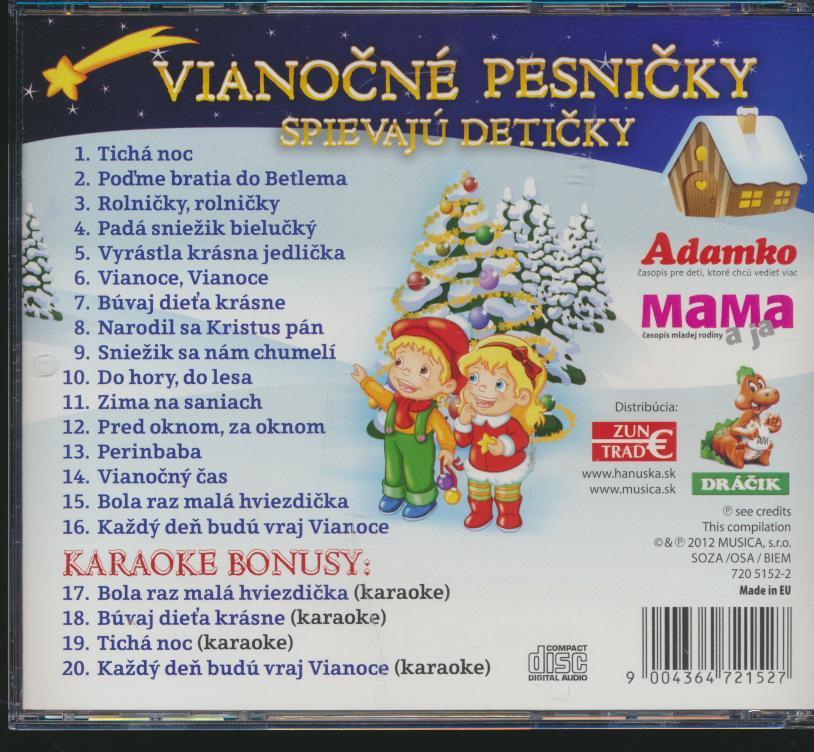 PESNICKY PRE DETI - VIANOCNE PESNICKY SPIEVAJU DETICKY - supermusic.sk