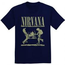 NIRVANA =T-SHIRT=  - TR STAGE -MEN- NAVY -L-